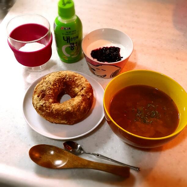韓国で自炊、ある日の朝ごはん