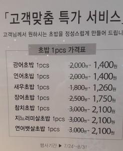 デパ地下お寿司の価格表