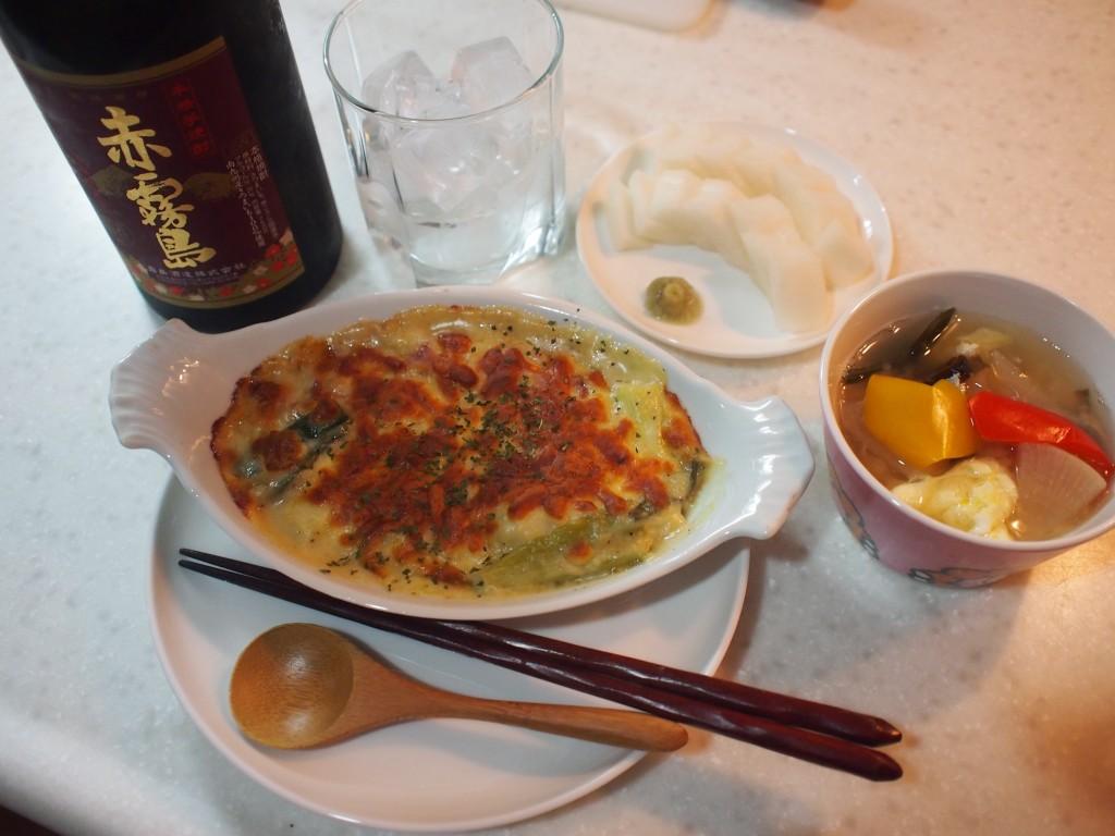 今日の晩酌はネギグラタン+中華風大根と卵のスープ+大根のぬか漬け