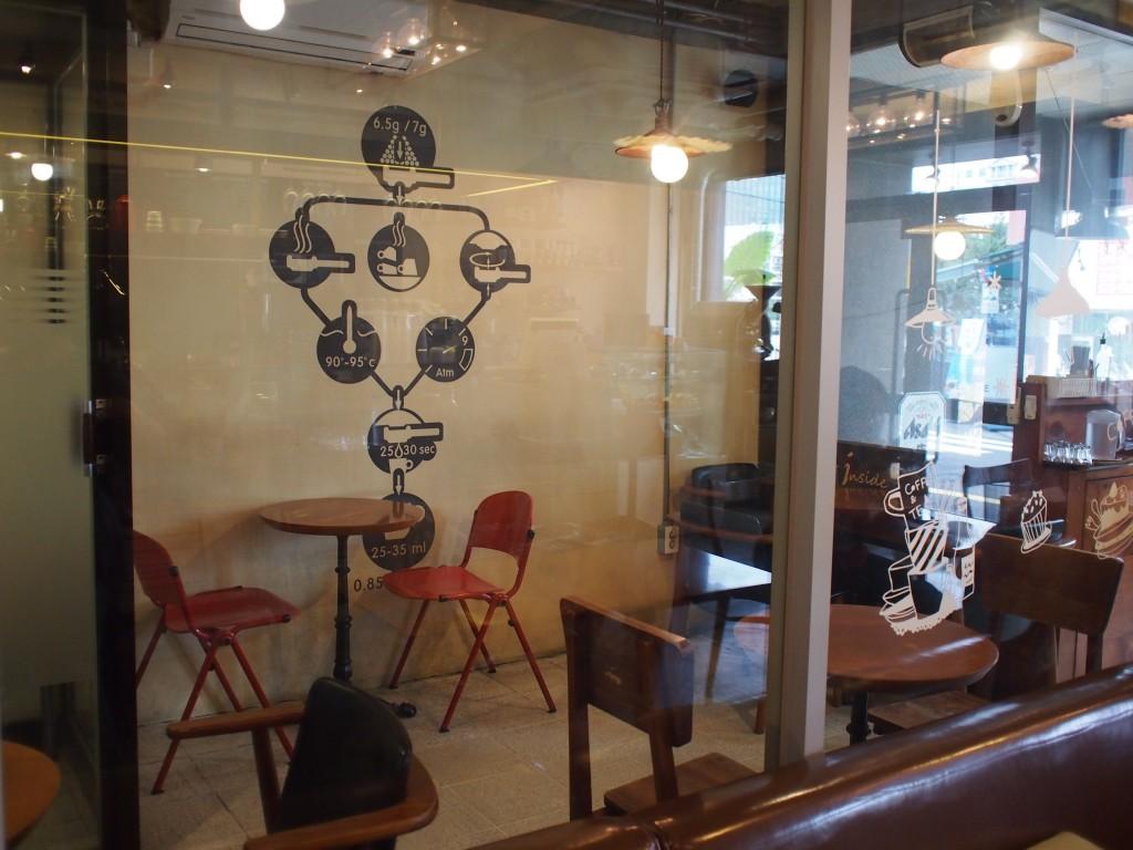 cafe insideガラスで区切られた店内